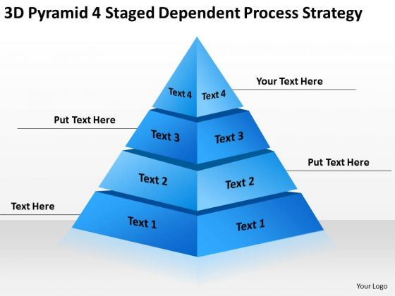 4 Staged Dependent Process Strategy Ppt Real Estate Business Plan Template PowerPoint Templates
