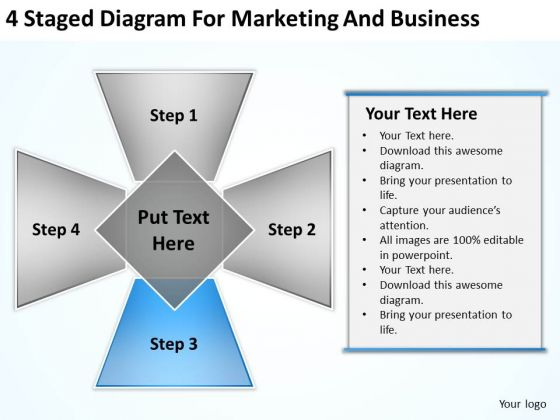 4 Staged Diagram For Marketing And Business Professional Plans PowerPoint Slides