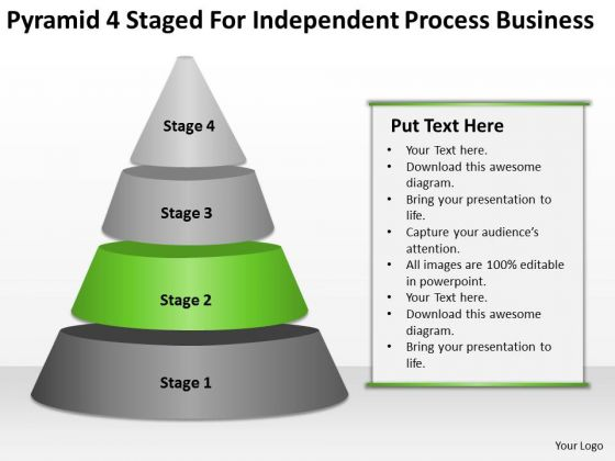 4 Staged For Independent Process Business Ppt Example Plans PowerPoint Slides