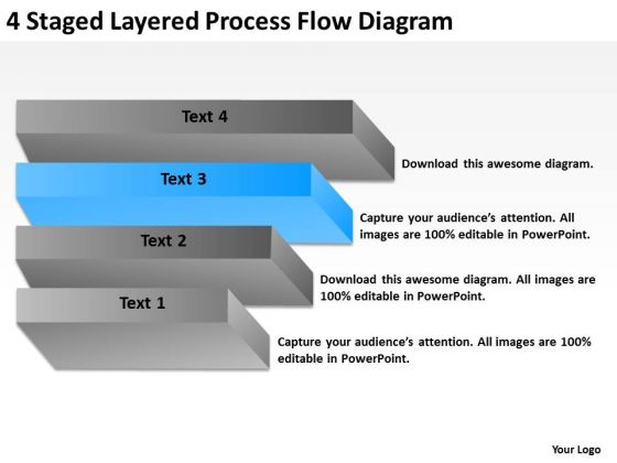 4 Staged Layered Process Flow Diagram Ppt Business Plan Freeware PowerPoint Templates