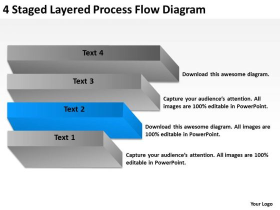4 Staged Layered Process Flow Diagram Ppt Successful Business Plan PowerPoint Slides