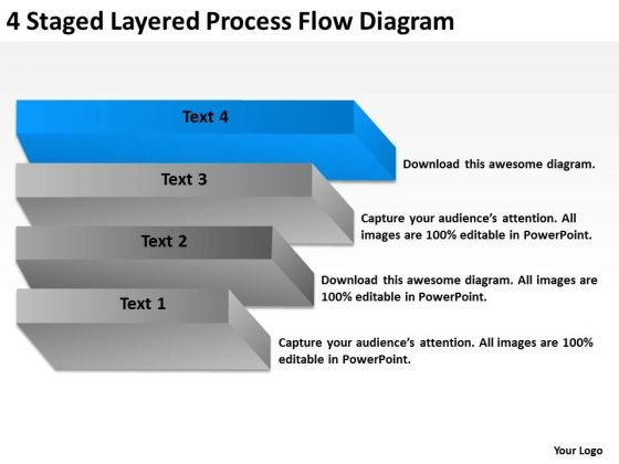 4 Staged Layered Process Flow Diagram Ppt Write Business Plan Template PowerPoint Slides