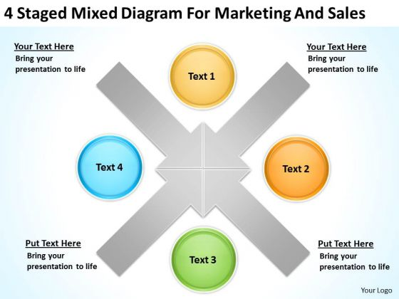 4 staged mixed diagram for marketing and sales ppt best business