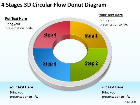 4 Stages 3d Circular Flow Donut Diagram Business Plan Preparation Service PowerPoint Slides