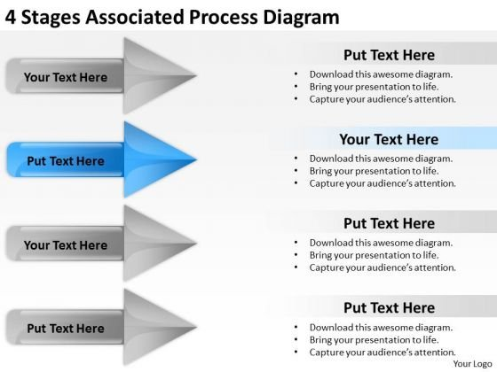 4 Stages Associated Process Diagram Insurance Business Plan PowerPoint Templates