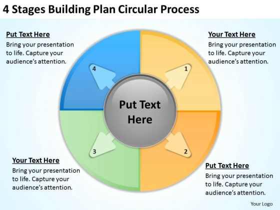 4 Stages Buliding Plan Circular Process Constructing Business PowerPoint Templates