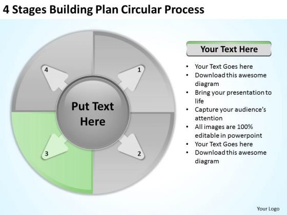 4 Stages Buliding Plan Circular Process Ppt Business Writer PowerPoint Slides