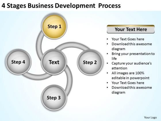 4 Stages Business Development Process Plans PowerPoint Slides