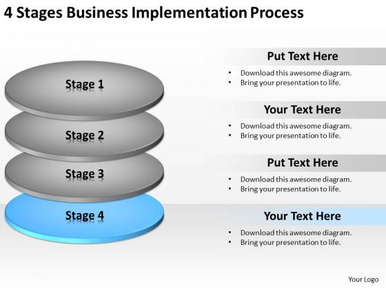 4 Stages Business Implementation Process Ppt Help Writing Plan PowerPoint Templates