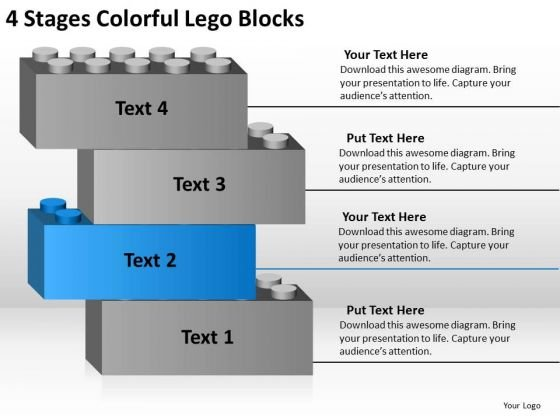 Stages Colorful Lego Blocks Business Action Plan Template