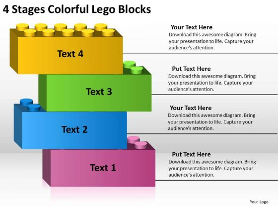 4 stages colorful lego blocks business plan format outline, Presentation templates
