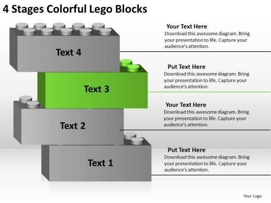 4 Stages Colorful Lego Blocks Business Plan PowerPoint Templates