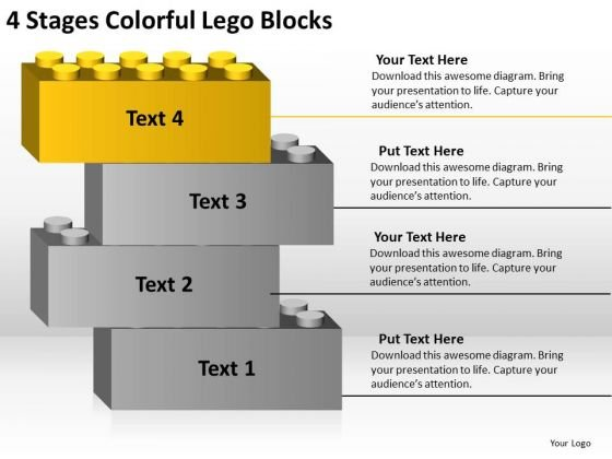 4 Stages Colorful Lego Blocks Ppt Business Plan PowerPoint Templates