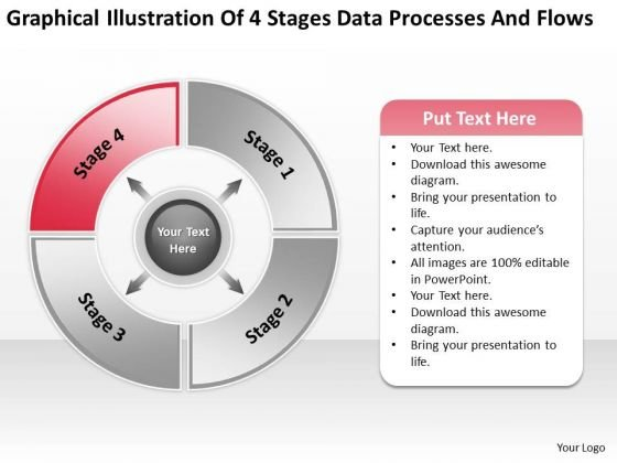 4 Stages Data Processes And Flows Ppt How To Write Up Business Plan PowerPoint Slides
