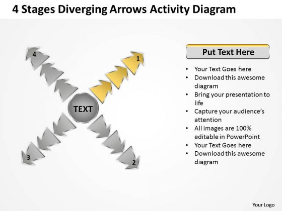 4 Stages Diverging Arrows Activity Diagram Cycle Chart PowerPoint Template
