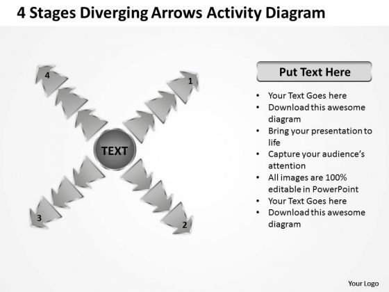 4 Stages Diverging Arrows Activity Diagram Cycle Chart PowerPoint Templates