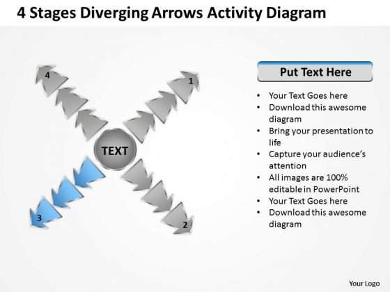 4 Stages Diverging Arrows Activity Diagram Ppt Circular Flow Process PowerPoint Slides