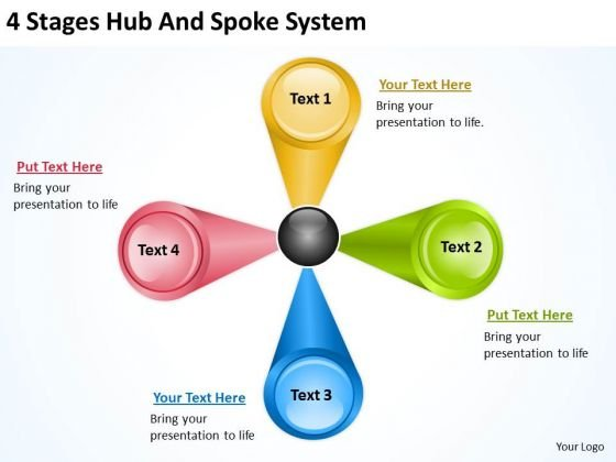 4 Stages Hub And Spoke System Business Plan PowerPoint Slides