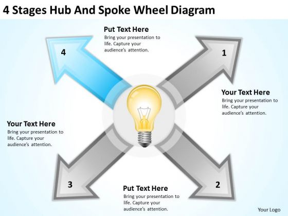 4 Stages Hub And Spoke Wheel Diagram Ppt Business Plan Software Download PowerPoint Templates