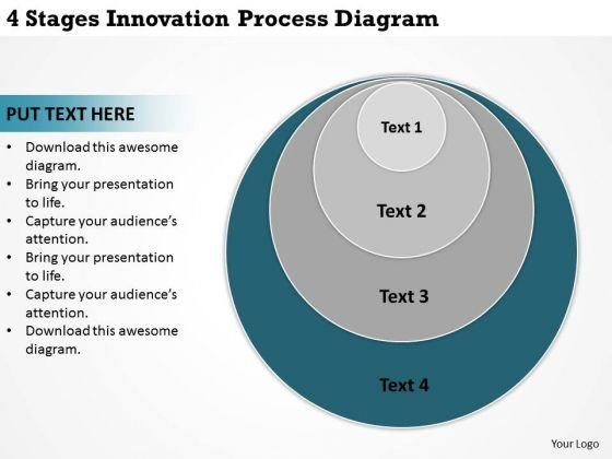 4 Stages Innovation Process Diagram Ppt Simple Business Plans PowerPoint Templates