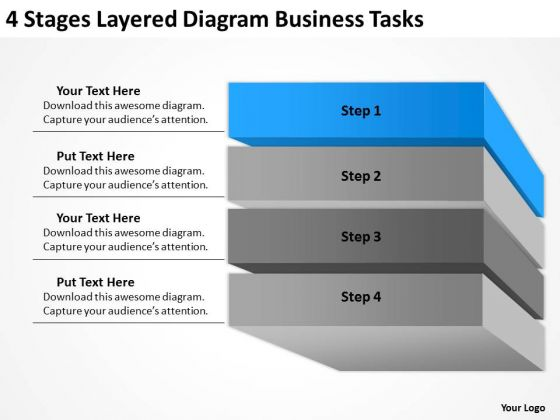 4 Stages Layered Diagram Business Tasks Ppt Plan PowerPoint Templates