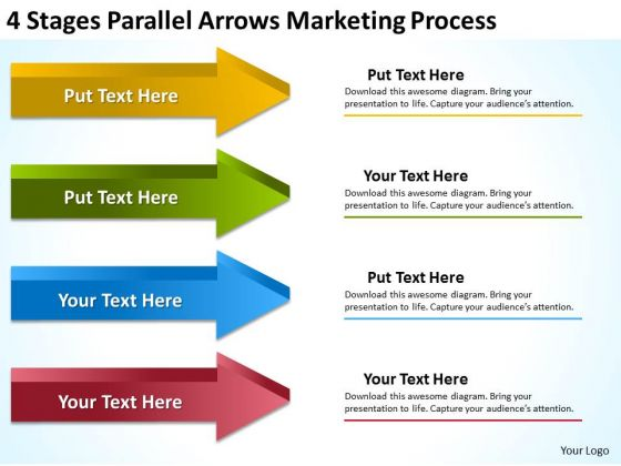 4 Stages Parallel Arrows Marketing Process Business Plan Worksheet PowerPoint Templates