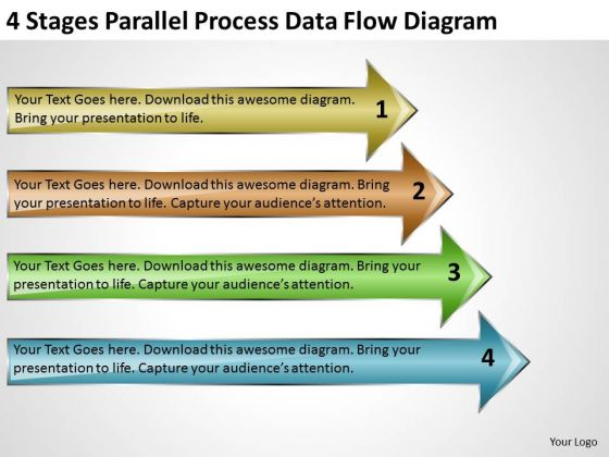 4 Stages Parallel Process Data Flow Diagram Business Plan Company Description PowerPoint Slides