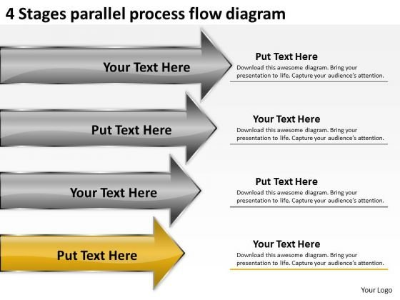 4 Stages Parallel Process Flow Diagram Ppt Outline Business Plan PowerPoint Slides