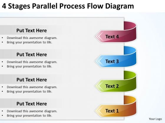 4 Stages Parallel Process Flow Diagram Template For Business Plan PowerPoint Slides