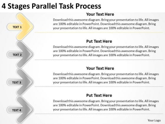 4 Stages Parallel Task Process Elements Business Plan PowerPoint Templates