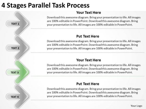 4 Stages Parallel Task Process Outline For Business Plan PowerPoint Slides