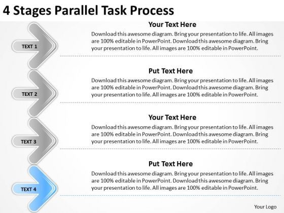 4 stages parallel task process ppt sales business plan outline