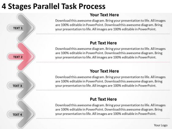 4 Stages Parallel Task Process Small Business Plan PowerPoint Slides
