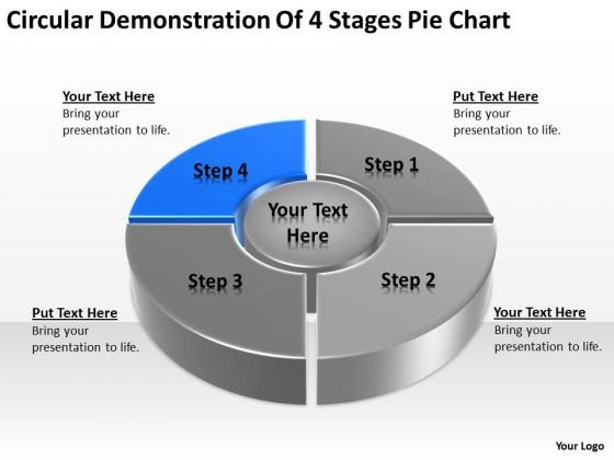 4 Stages Pie Chart Ppt How To Write Business Plan Template Free PowerPoint Templates