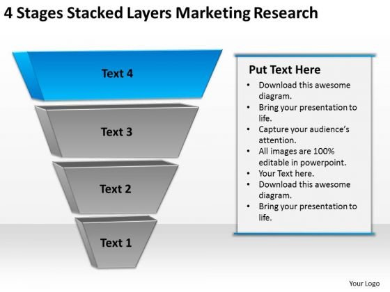 4 Stages Stacked Layers Marketing Research Ppt Best Business Plan PowerPoint Slides