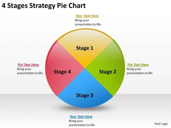 4 Stages Strategy Pie Chart Writing Business Plan For PowerPoint Slides