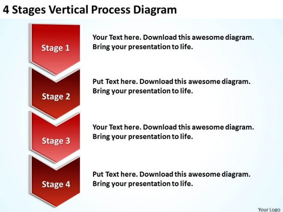 4 Stages Vertical Process Diagram Example Of Business Plans PowerPoint Templates