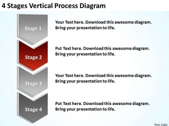 Stages Vertical Process Diagram Mini Business Plan Template - Mini business plan template