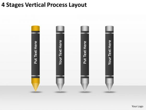 4 Stages Vertical Process Layout Basic Business Plan Outline PowerPoint Slides
