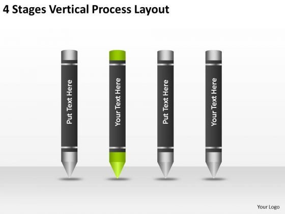 4 Stages Vertical Process Layout Marketing Business Plan Outline PowerPoint Templates