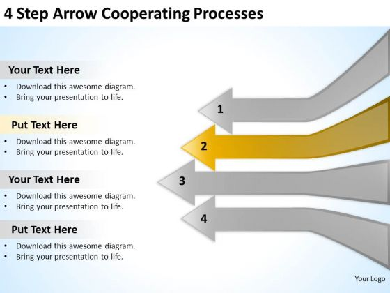 4 Step Arrow Cooperating Processes Business Action Plan PowerPoint Slides
