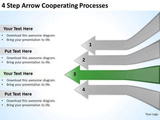 4 Step Arrow Cooperating Processes Business Strategy PowerPoint Slides