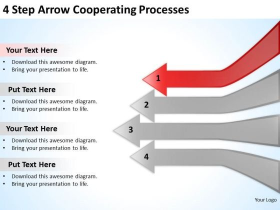 4 Step Arrow Cooperating Processes Frozen Yogurt Business Plan PowerPoint Slides