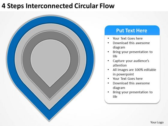 4 Steps Interconnected Circular Flow Ppt Actual Business Plan Examples PowerPoint Slides
