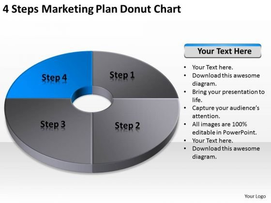 4 Steps Marketing Plan Donut Chart Ppt Fill The Blank Business PowerPoint Templates