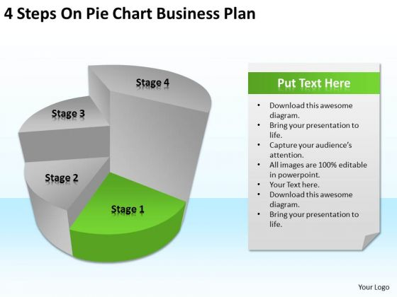 4 Steps On Pie Chart Business Plan Ppt Format Template PowerPoint Slides