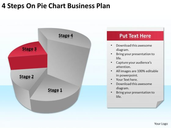 4 Steps On Pie Chart Business Plan Ppt Small Template PowerPoint Slides