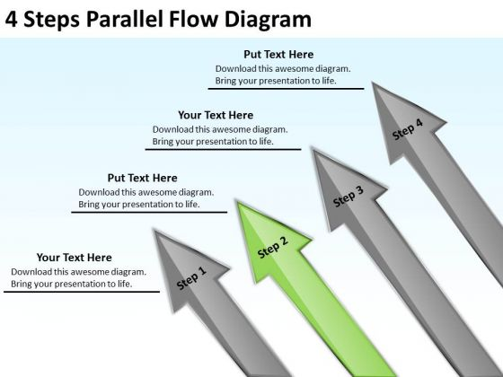 4 Steps Parallel Flow Diagram Business Contingency Plan PowerPoint Slides