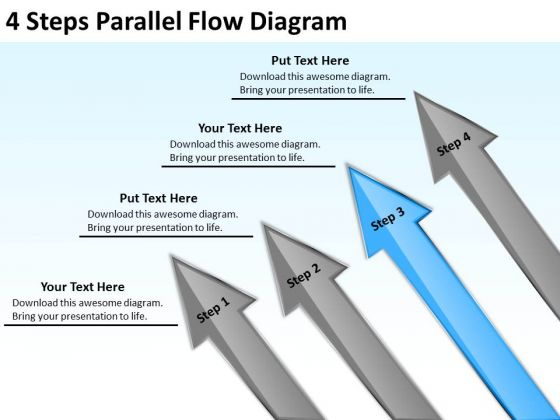 4 Steps Parallel Flow Diagram Business Plan Outline Sample PowerPoint Templates