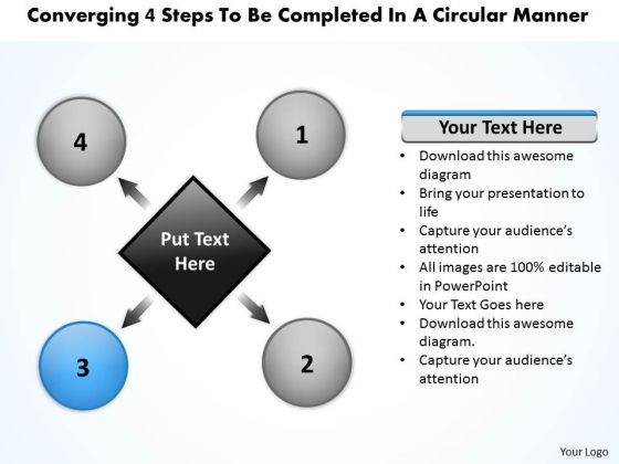 4 Steps To Be Completed In A Circular Manner Ppt Flow Diagram PowerPoint Slides